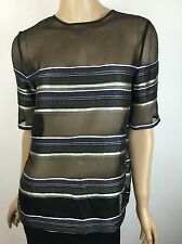 Adam Lippes New NWT $630 Sheer Stripe Chiffon Blouse S/S Black/Blue Sz 2 Silk