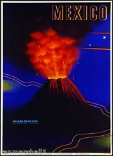 Mexico Volcan Paricutin Mexican Spanish Vintage Travel Advertisement Art Poster