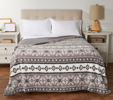 Berkshire Printed Sherpa Blanket with Velvet Soft Reverse-King-Gray-H216649