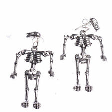 1 Pair Fashion Gothic Punk Limbs Silver Skeleton Skull Villain Dangle Earrings