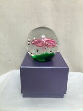 Vintage Glass Paperweight White/Pink Flower in Gift Box VGC