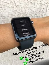 Apple Watch + Extras 1st Gen 42mm Space Gray Case Black Sport Band - (MJ3T2LL/A)