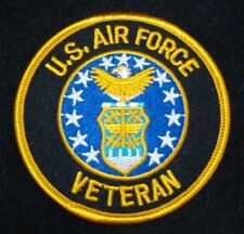 """UNITED STATES  AIR FORCE  """"VETERAN""""  Patch 3"""" Patch Round with Gold Letters"""