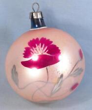 Christmas Ornament Ball Mercury Glass Red Poppy Flower Gold Blue Vintage #139