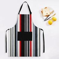 Stylish Striped Cotton Apron Restaurant Chef Kitchen Cooking Pinafore w/ Pocket