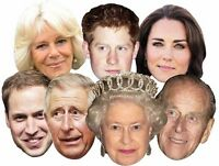 Queen Philip Harry William Kate Charles Camilla - Royal Family FACE MASK 7 PACK