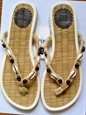 1ac744d8cdb6 LADIES GAP SHELL   WOOD BEADS ROPE BEACH BOHO SLIP ON FLIP FLOPS SANDALS 7  NW
