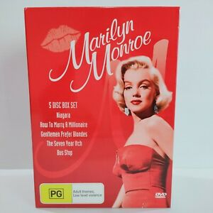 Marilyn Monroe 5 Disc DVD Movie Box Set - Region 4 - Like New