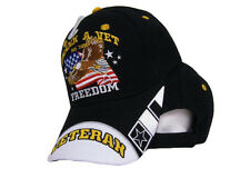 Thank A Vet For Your Freedom Veteran Eagle Flag Black Embroidered Ball Cap Hat