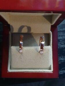 9ct Rose Gold Huggie Hoop 2cm Earrings - 375 - Brand New