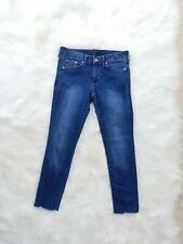 H&M &Denim Super Skinny Low Waist Jeans - SZ 28/32 blue raw edge hem  slim