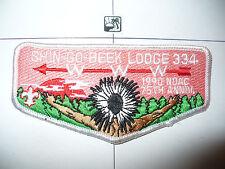 Shin Go Beek Lodge 334,S-16,1990 75th Ann OA, NOAC, Indian Chief Flap,157,246,IL