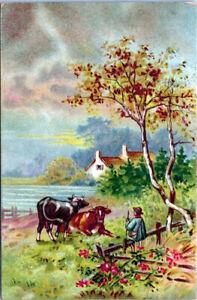 Greetings~BEAUTIFUL LANDSCAPE & SKY~CATTLE IN MEADOW~FARMHOUSE~Antique Postcard