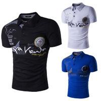 Mens Short Sleeve Golf T-Shirt Print Casual Turn-Down Collar Slim Fit Tops Size