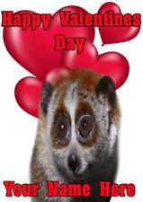 Lento Loris tv268 Divertido Lindo Día de San Valentín Tarjeta A5 saludos Personalizados