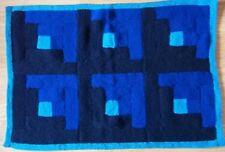 "Hand Knitted Babies Blue Pram Blanket, Size 30"" x 20.5"""