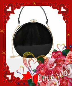 NAVY, BLACK, WINE COLOR PATENT ROUND HANDBAG SHOULDER STRAP