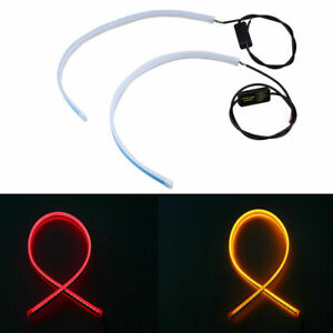 45CM Flexible DRL LED Light Sequential Turn Signal Strip Switchback Red Yellow