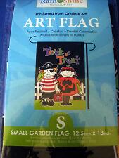 """Regen oder Sonnenschein ~ kleine Garten Flagge ~ Trick or Treat ~ Kunst Flagge ~ Halloween ~ 12.5 x 18"""" ~ NIP"""