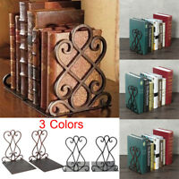 2Pcs/set Vintage Iron Book End Shelf Craft Stand Antique Bookend Home Room Decor