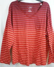 3X SONOMA The Everyday Tee STRIPE V Neck Red Design Long Sleeve NWT