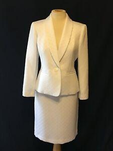 KASPER White Polyester Formal Summer Skirt Jacket Suit - 6P - NWT $208