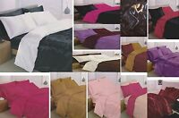 NEW 6PC SATIN COMPLETE SETS 2-4 PILLOWCASES FITTED SHEET DUVET QUILT COVER SETS