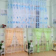 Tulip Flower Yarn Sheer Window Curtain Beads Door Scarf Drapes for Bedroom Decor