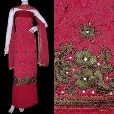 RUBY RED JACQRD CHINON CREPE SALWAR KAMEEZ SUIT DRESS MATERIAL w WORK LADIES DEN