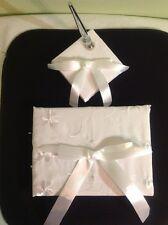 "Elegant Pearl White Satin Ribbon ""Joyful Guest Book & Pen Set"" Wedding Reception"