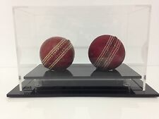 Double Cricket Ball Display Case Acrylic Perspex Signed Memorabilia Hatrick
