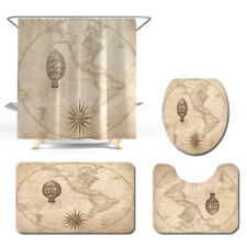 Nautical Map Bathroom Rug Set Shower Curtain Non Slip Toilet Lid Cover Bath Mat