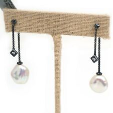 New DAVID YURMAN Solari Pearl Drop Dangle Earrings Sterling SIlver Diamond