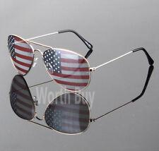 New Patriotic Patriot Sunglasses America USA Flag Print Lens Gold Shades Fashion