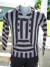 MEXICAN Textiles SANDY Striped Mexican BAJA Surfer HOODIE PULLOVER Size Large