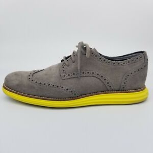 Cole Haan LunarGrand Mens 9.5 Gray Shoes Oxford Wingtip Suede Yellow Sole C10226