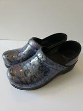 Dansko Black Blue Purple Patent Leather Slip On Clogs Shoes Sz  EU 37 US 6-6.5