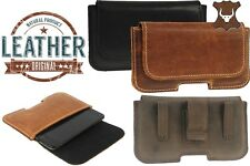 RIC WAIST POUCH WITH CLIP AND LOOP HANDMADE GENUINE LEATHER CASE COVER FOR PHONE