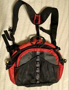 LL Bean Lumbar Waist Pack Shoulder Straps Red Fanny