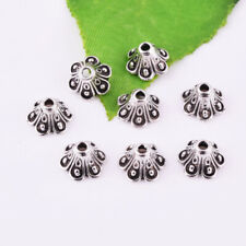 Solid Retro Flower End Bead 8x5mm 50ocs Beautiful Antique Silver End Bead Caps