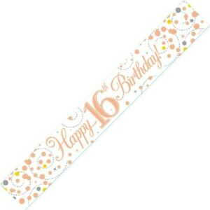 9ft White & Rose Gold Happy 16th Birthday Foil Banner Age 16 Party Decorations