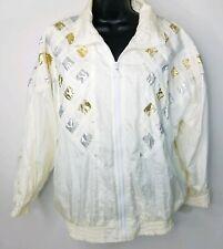 Vintage Euro Joy Cream Gold Silver Metallic Zip Jacket Lined Windbreaker M