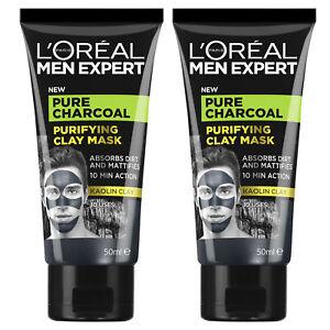 NEW L'Oreal Paris Men Expert Pure Charcoal Purifying Kaolin Clay Mask 50ml x 2