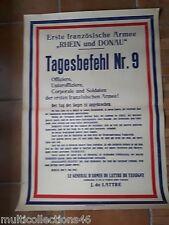 AFFICHE Guerre 39/45 - 260617 - TAGESBEFEHL N°9 Armée Rhin Danube De LATTRE