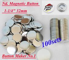 "Nd. Magnetic 1-1/4"" 32mm  100 Sets Badge Button Parts Sticker BIG SALE!! DIY"