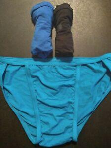 Men's Hanes Comfort Flex Fit Tagless String Bikini 3 Pack Size M Teal Black NEW