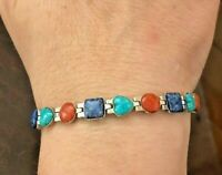 925 Sterling Silver with Turquoise, Carnelian, and Lapis stones Bracelet