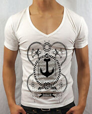 MENS DEEP V NECK T-SHIRT SAILOR NAVY BOAT FISHING MUSCLE TOP GEORDIE SHORE