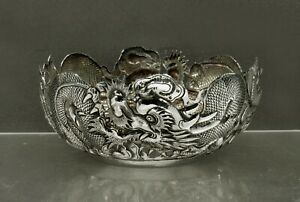 Chinese Export Silver Dragon Bowls                   c1890 WANG HING