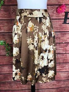 Talbots Skirt 14 Petite Brown Tan Orange Rose Floral Satin Knee A Line Pockets
